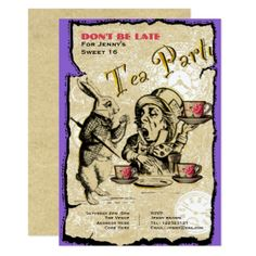 #Sweet 16 or 13th Tea Party Invite Alice Wonderland - #sweet16 #invitations #sixteen #birthday #sweetsixteen #party #bday #birthdayparty