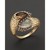 Smokey Quartz and Moonstone Ring with White and Brown Diamond in 14K Yellow Gold, .5 ct. t.w.