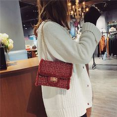 Kelly's Cross-Body Wool Shoulder Bag with Tide Chain – Lassgirl Japan Fashion, Fashion Bags, Danish Fashion, Cover Style, Popular Handbags, Bag Packaging, New Bag, Cute Bags, Casual Bags