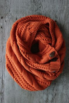 The Perfect Scarf Pumpkin Fall Scarf by Northernly on Etsy, Orange scarf, Cable knit scarf, Scarf with buttons. I like this color. It feels like fall ;-).