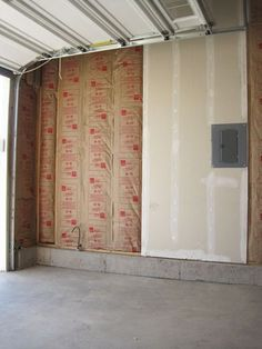 How to finish a garage: How we insulated and . our new garage . Garage Makeover, Remodel, Insulating Garage Walls, Garage Decor, Garage Work Bench, Garage Insulation, Garage Walls, Garage Update, Garage Floor