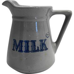 Prairie Farms Dairy Real Milk Stoneware Pitcher Gray Blue Vintage 1970s 32 OZ -- found at www.rubylane.com @rubylanecom #VintageBeginsHere #farm