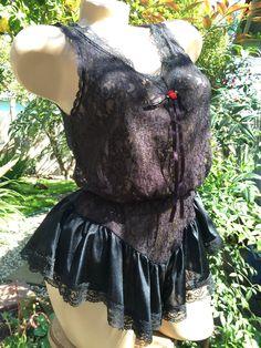 9998936b952a 1970's Vintage Tosca Black Lace BabyDoll Teddy~Onesie~Romper by  StrangeVintage on Etsy Lace