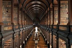 Trinity College Library, Ireland - More like the Noah's Arc of libraries, the two-story rich wooden arches extend as far as the eye can see in Ireland's biggest library. Serving also as the country's copyright library, this book sanctuary also houses the famous manuscript written by Celtic Monks in the year 800, called the legendary Book of Kells.