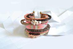 """Bracelet """"Ribambelle"""" tons rose et bois"""