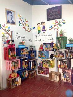 Beautiful original places to store your books - Pre-school Bethany Ford Preschool Classroom, Preschool Activities, Kindergarten, Class Decoration, School Decorations, Classroom Design, Classroom Decor, Home Daycare, Book Corners