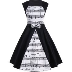 White And Black 2xl Musical Notes Printed Sleeveless Vintage Dress ($14) ❤ liked on Polyvore featuring dresses, print dress, sleeveless dress, mixed print dress, pattern dress and no sleeve dress