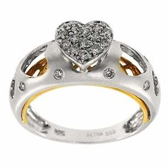 0.20 Cttw Round Diamonds Heart Shaped Cocktail Ring 14K Two Tone Gold Pave Set #Cocktail