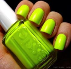 Neon Green Nails  love the color.