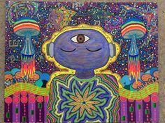 Samantha McGregor original art. Love, Psychedelic, Psychedelic painting, Acrylic, acrylic painting, acrylic art, art, trippy, DIY, music, mushrooms, third eye, music notes, soundboard, tie dye, outer space, galaxy, nebula, cosmos
