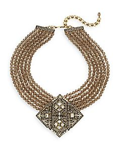 Homage To The Classics Swarovski Crystal Multi-Strand Pendant Necklace/Goldtone