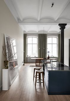 Andreas Martin-Löf Arkitekter creates Lyceum apartments within former university labs - Dr Wong - Emporium of Tings. Scandinavian Interior Design, Contemporary Interior Design, Interior Design Kitchen, Interior Decorating, Contemporary Apartment, Contemporary Furniture, Decorating Tips, Contemporary Stairs, Contemporary Cottage