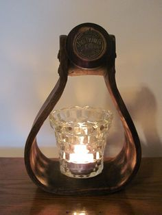 Wooden pony saddle stirrup made into a tealight candle holder !
