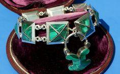 Victorian Scottish Silver Malachite Agate Padlock Bracelet