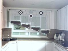 Sliding Curtains, Curtains With Blinds, Hello It, Shades Blinds, Window Design, Sweet Home, Kitchen Cabinets, Windows, Mirror