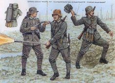 """German army, assault trops , """"Stosstruppen""""1 & 2. Flammenwerfer, 3 pioneers Guard Battalion, 3rd lieutenant, battalion assault. Fig. Adam Hook."""