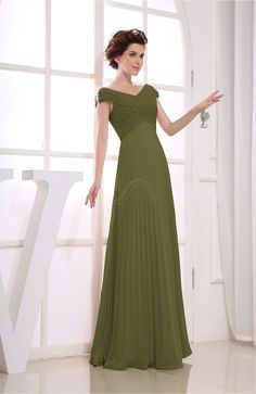 Olive Green Bridesmaid Dress - Vintage Empire Short Sleeve Zipper Chiffon Floor Length Long