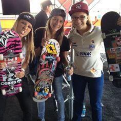 Leticia Bufoni, Jessica Florencio, and Pamela Rosa from Brazil