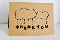 Thank You Rain Cloud Card  Set of 1-6  4x5.5 by NorthwestNook