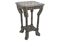 I NEED one to place between two black Chinese chairs with leopard print cushions! Indian Painted Side Table. As described by Sinha-Paye Vintage Indian side table, hand-painted in a traditional Rajasthani floral pattern. Use in the living room for a touch of pattern, in the entry to hold mail, or to hold towels by the master bath.