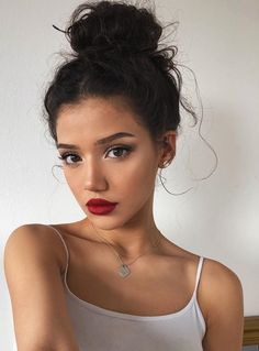 "Cute + romantic everyday #makeup look, also great inspo on how to wear a red lip and sultry eye makeup while keeping it ""natural""."