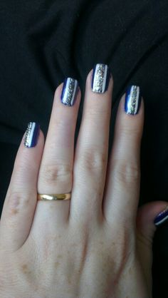 My wedding nails. Purple bottom, white stripes and glitter.