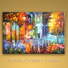 Huge Original Impressionist Palette Knife Artist Oil Painting Stretched Ready To Hang Landscape. In Stock $196 from OilPaintingShops.com @Bo Yi Gallery/ ops7043