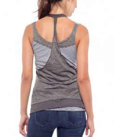 Take a look at the Cecico Gray & White Stripe Ruched Layered Tank - Women on #zulily today!