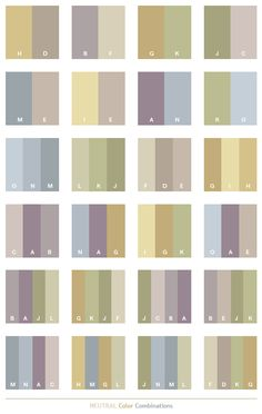 Neutral color schemes, color combinations, color palettes for print (CMYK) and Web (RGB + HTML)