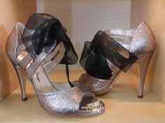 Item Belen, Sole Vero Cuoio, Material Glitter Fabric multicolor, Toe Open, Back Closed, Color Silver, Heel Shape Stiletto