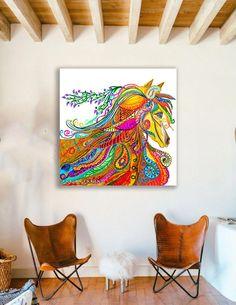 Bohemian Gypsy, Bohemian Fashion, Modern Bohemian, Gypsy Horse, Horse Horse, Abstract Canvas, Canvas Art Prints, Horse Spirit Animal, Art Paintings