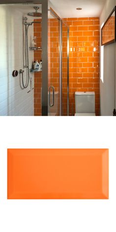Dan's bathroom proves that you shouldn't shy away from colour! A bright, vibrant orange metro tile brings a positive energy to Dan's bathroom. Laid in a traditional brick bond style. Orange Bathrooms, Bathroom Makeover, Orange Tiles, Shower Room, Small Downstairs Toilet, Bathroom Feature Wall, Bathroom Decor, Kitchen Bathroom Remodel, Tile Bathroom