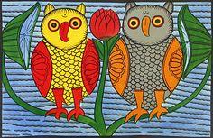 pair of owls from Kalighat Paintings Madhubani Art, Madhubani Painting, Jamini Roy, Bengali Art, Indian Folk Art, Buddha Art, India Art, Can't Sleep, Birds 2