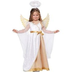 All is calm, all is bright, as this costume brings Christmas cheer through the night. Dress your daughter in this Sweet Little Toddler Angel Costume to show off her heavenly personality. This white and gold dress comes with printed wings and a white fuzzy halo, so your little one can truly embrace her divine side.