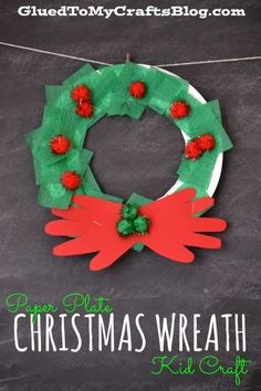 Brilliant Picture of Holiday Paper Crafts For Kids Holiday Paper Crafts For Kids Paper Plate Christmas Wreath Kid Craft Santa Crafts, Christmas Crafts For Toddlers, Winter Crafts For Kids, Easy Christmas Crafts, Kids Christmas, Christmas Island, Preschool Winter, Christmas Swags, Burlap Christmas