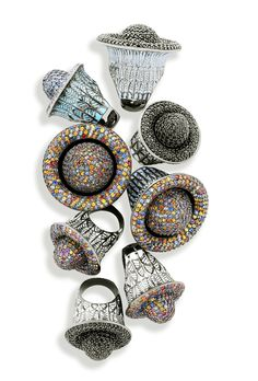 M.C.L. Deco Cocktail Rings. Hand-set with luminous sapphires and complemented with vibrant enamel colors. These styles come in various sizes to make that perfect fashion statement.
