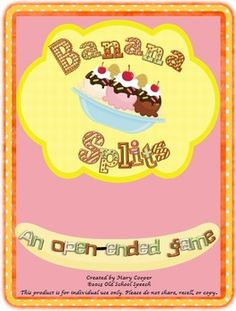 Be the first one to find the ice cream scoops to finish your banana split while working on your speech/language targets.Includes:8 Banana Split Mats with scoopsIce cream scoopsColor cards Color Mats on which to place ice cream scoops.Each child chooses a banana split mat.