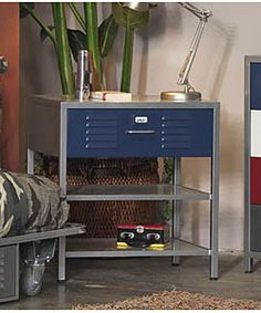 Metal nightstand updates any boy's room with tough style Two lower shelves with one blue locker drawer Nightstand measures 25 inches wide x 20 inches deep x 29 inches
