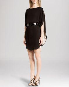 Halston Heritage Dress - Short Cold Shoulder Sleeve Layered