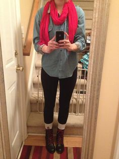 red scarf, denim shirt, black leggings, and combat boots!