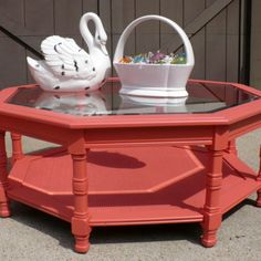 SOLD! - Octagonal Glass Top Coffee Table, Painted Coral from Julies Box for $60 on Square Market