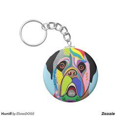 Mastiff Basic Round Button Keychain