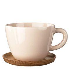 Höganäs Keramik Becher blassrosa 0,5 l mit Holzunter