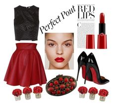 """""""RedPout"""" by breestreet ❤ liked on Polyvore featuring beauty, Funlayo Deri, L'Agence, Christian Louboutin, Giorgio Armani, Moo Roo Renew and The French Bee"""