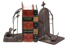 These are adorable!  S/2 Birdcage Bookends w/ Birds on OneKingsLane.com