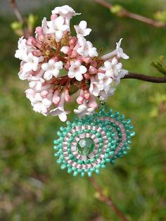 Sharon.handmade / Cherry tree bead embroidery handmade earrings in spring colors, looks like sakura cherry blossom, cute handmade jewelry