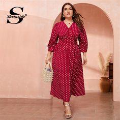 Plus Size Casual Polka Dot Print Women Dress Iranian Women Fashion, Plus Size Casual, Curvy Outfits, Lady V, Polka Dot Print, V Neck Dress, Cheap Dresses, Plus Size Women, Sleeve Styles