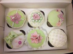 Mint Green & Pastel Pink Vintage Cupcakes - Cake by Jodie Taylor