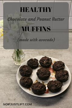 Recipe for healthy, quick and tasty peanut butter and chocolate muffins made with avocado.