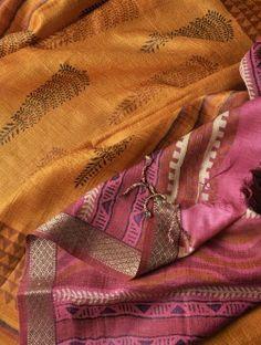 Pine Geometry Tussar Silk Dupatta
